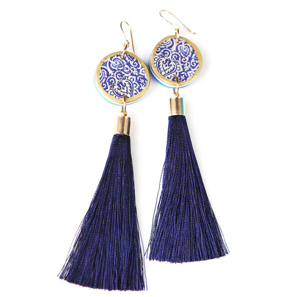 navy gold LUXE tassel statement earring NAVY BLUE Next Romance