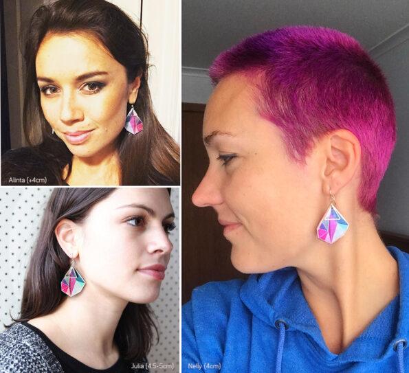 large pink triangle art earrings geometric designs next romance jewellery australia
