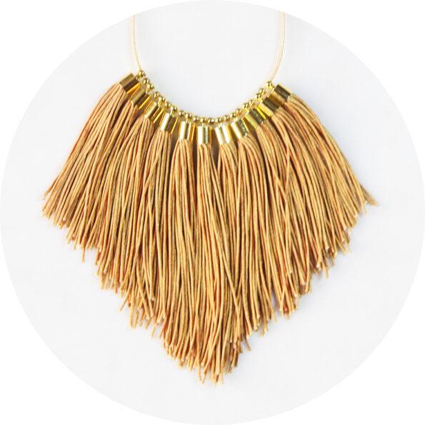 pale gold tan tassel fringe necklace Next Romance Jewellery australia