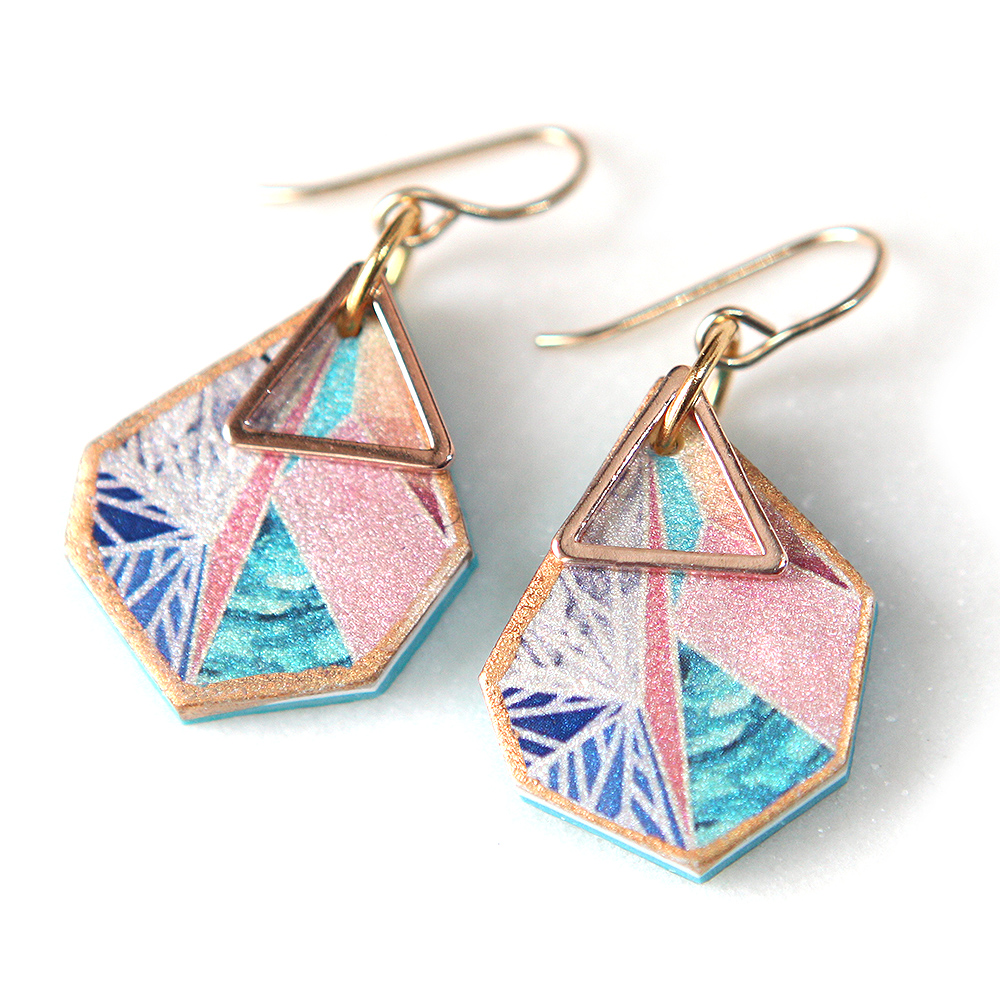 rose gold snowflake triangle art earrings pink teal by next romance australian unique designer jewellery flake peach triangle art