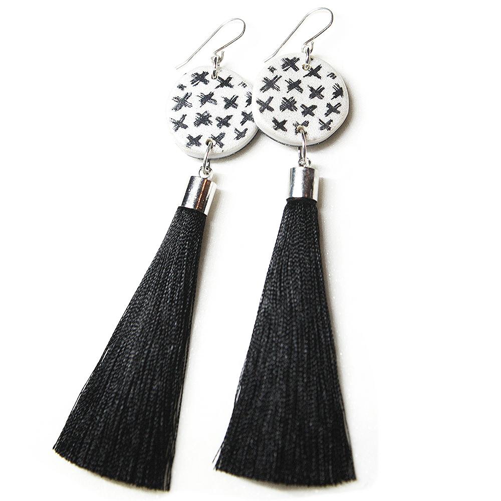 Cross Ink Tassel Art Earrings Silver Choose Tassel