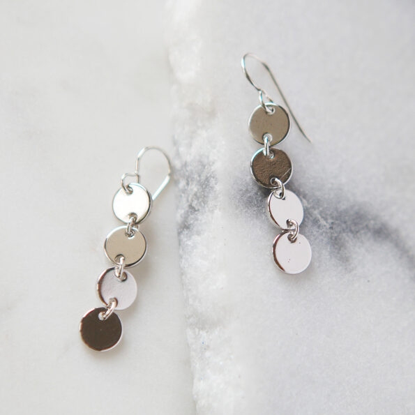 COIN stack geometric earrings - silver, gold, rose gold next romance 4 coin drop dangles silver