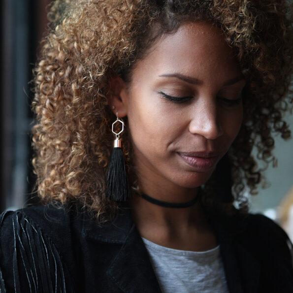 black HEX tassels model mariama NEXT ROMANCE jewellery australian