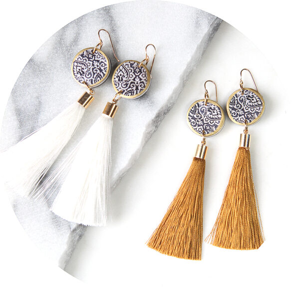 black coin morocco tassel art earrings gold or white tassel.jpg