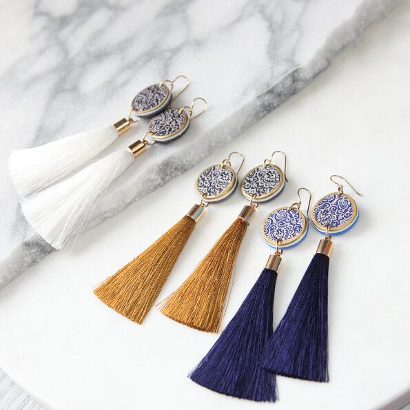 NEXT ROMANCE black coin morocco tassel art earrings gold or white tassels all
