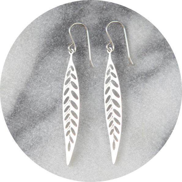 lasercut steel filigree long leaf earrings steel silver jewellery design australia