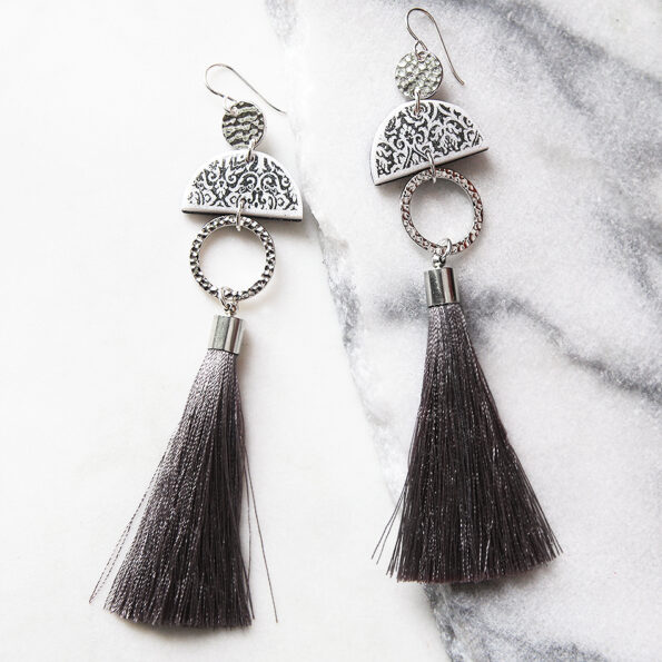 limitless luxe earring design tassels grey and silver unique jewellery long statement australian design