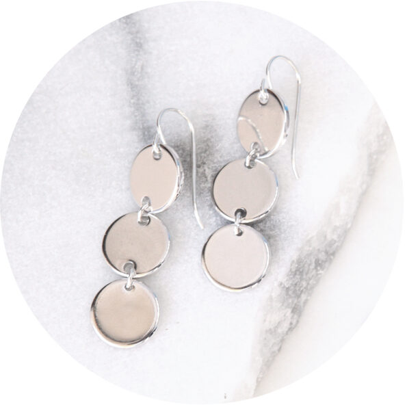 silver coin earrings 3 coin stack next romance jewellery australia handmade unique fashion