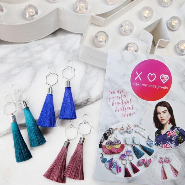 GIFT for her hex TASSEL earrings boho postcard insta silk Mothers Day