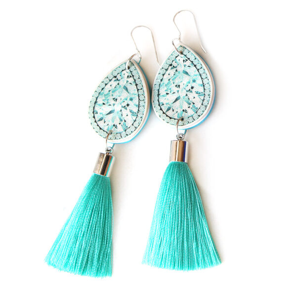 teal diamond art earrings with tassel silk next romance melbourne jewellery.JPG