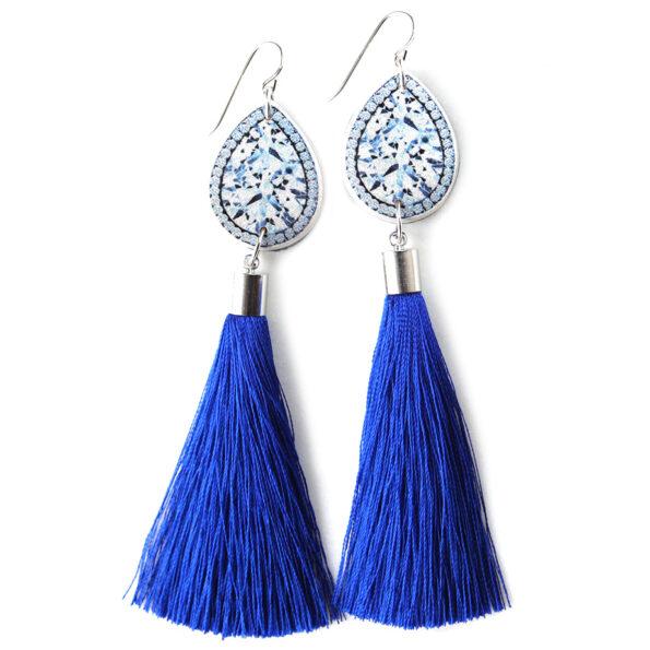 blue diamond art tassel earrings melbourne NEXT ROMANCE jewellery