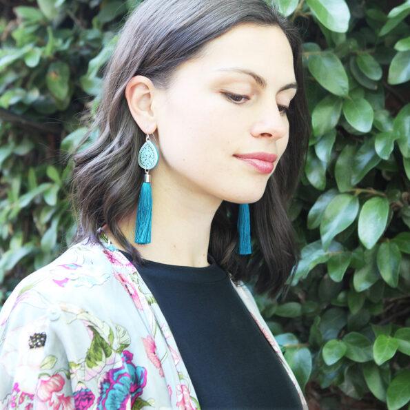 blue diamond tassel art earrings by NExt romance jewellery
