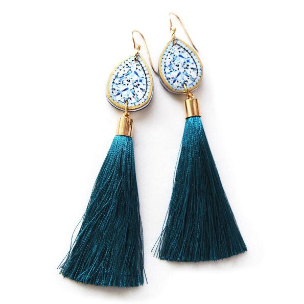 diamond tassel art earring peacock teal blue long NEXT ROMANCE jewellery vicki leigh lee