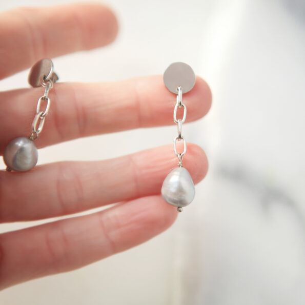 grey baroque pearl chain dangley earrings made in australia silver by next romance jewellery melbourne unique modern wedding gift