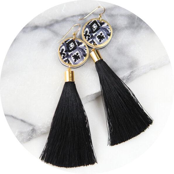 morocco watercolour black ink sun earrings gold tassels NEXT ROMANCE jewellery