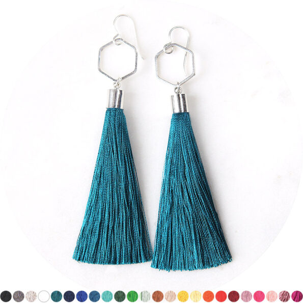 silver peacock teal tassel earrings hexagon NEXT ROMANCE