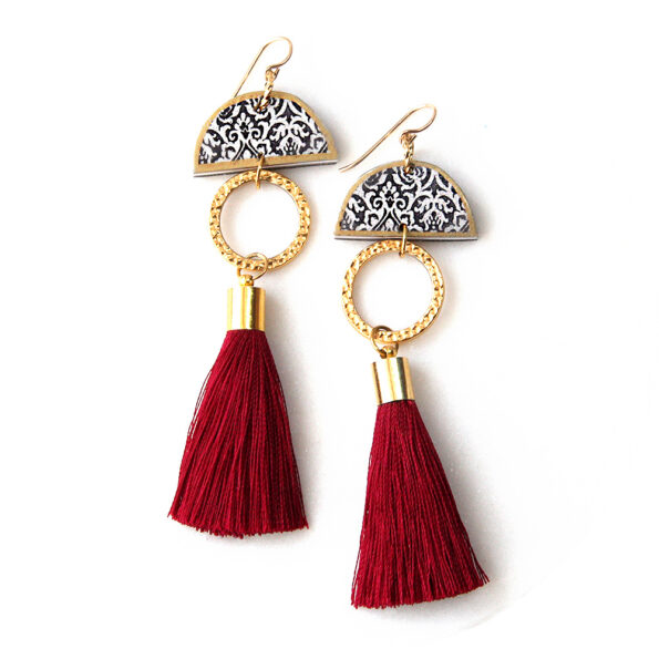 limitless luxe lonely half moon tassel art earring gold silky short NEXT ROMANCE red burgundy