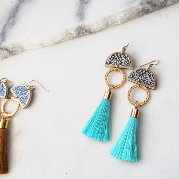 limitless luxe lonely half moon tassel art earring teal short NEXT ROMANCE