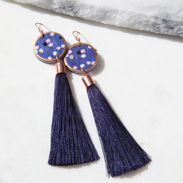 navy polkadot tassel art earrings NEXT ROMANCE jewellery vicki leigh Australian designer