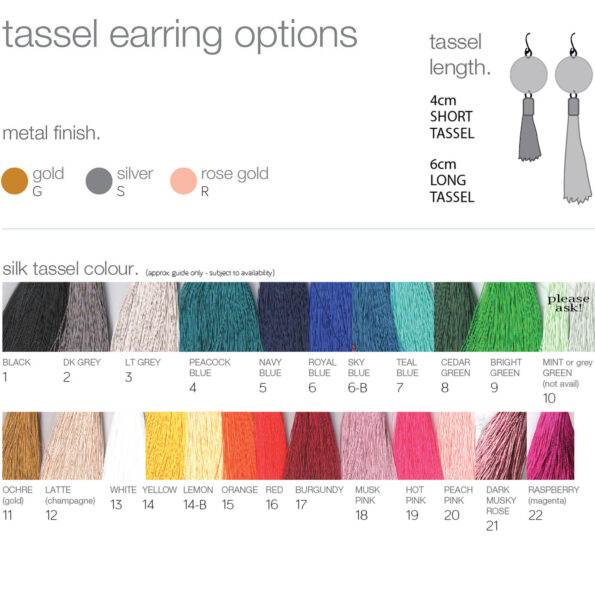 silk Tassel colours options earrings guide NEXT ROMANCE unique JEWELLERY