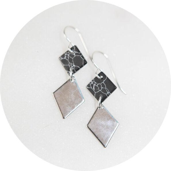 2 tier marble black silver earrings rhombus diamond geo NEXT ROMANCE jewels australia
