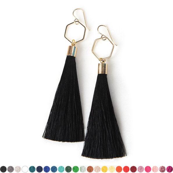 black gold tassel earrings hexagon NEXT ROMANCE