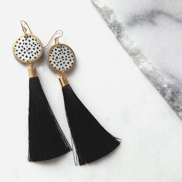 black ink dot tassel art earrings DEVOI x NEXT ROMANCE.JPG