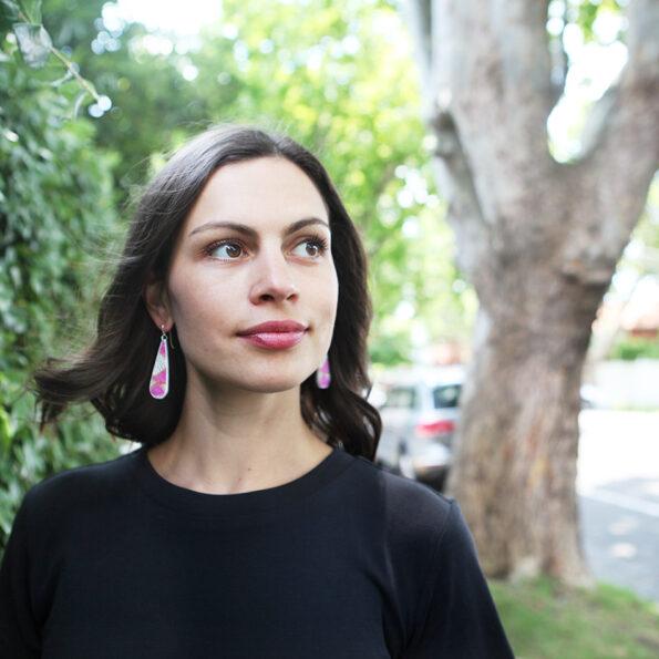 julz PICTOR long drop art earrings - Next Romance X DEVOI collab