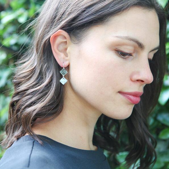 modern marble diamond double drop earrings - silver or gold