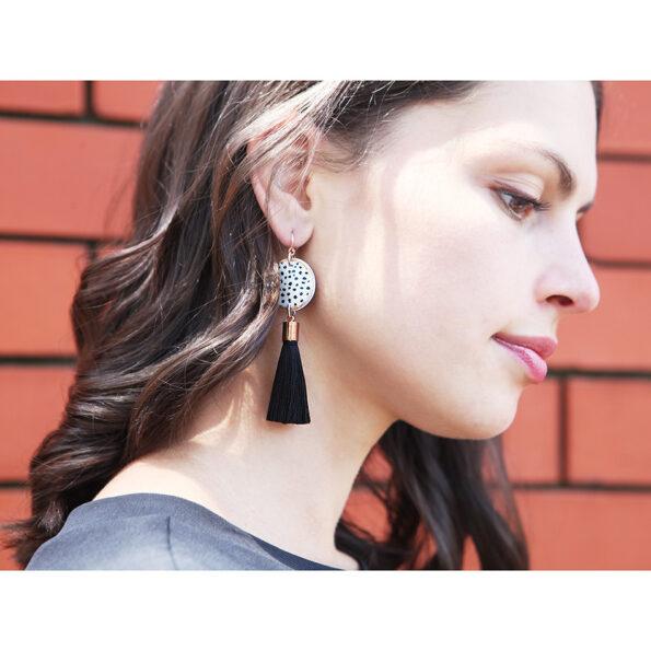 polka dot black white tassel earrings rose gold short NEXT ROMANCE jewels