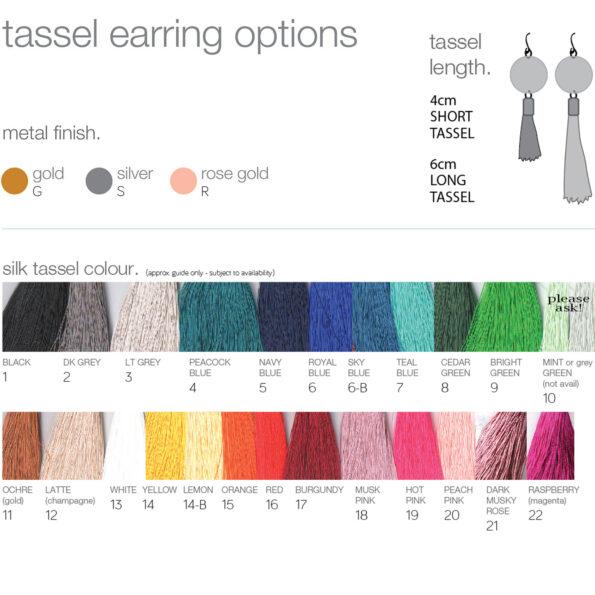 tassel colour options 2018