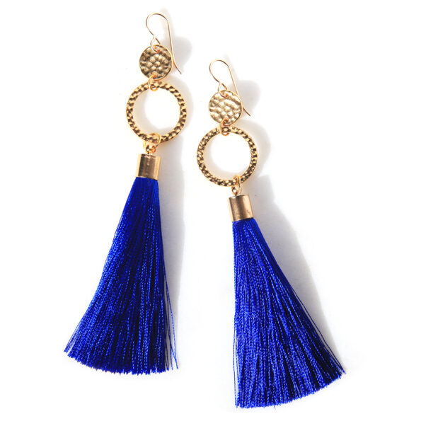 Royal blue double hammered tassel earrings by next romance jewellery melbourne