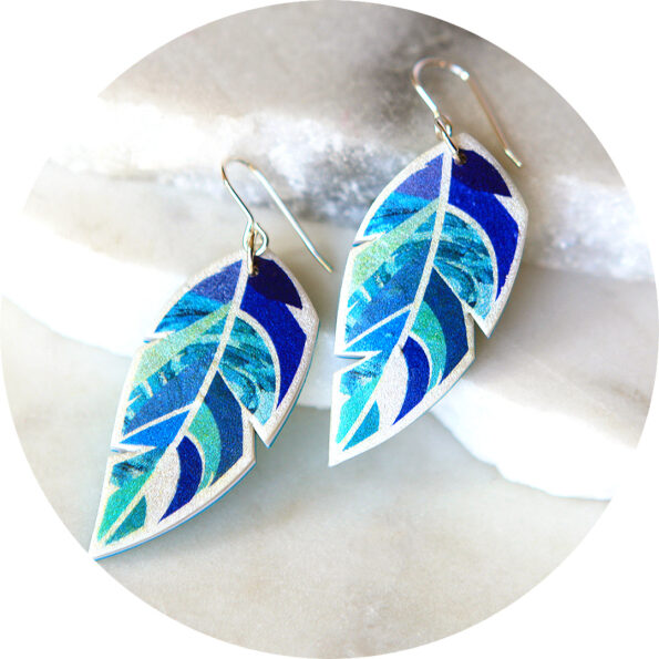 blue green feather earrings new next romance jewellery made in australia