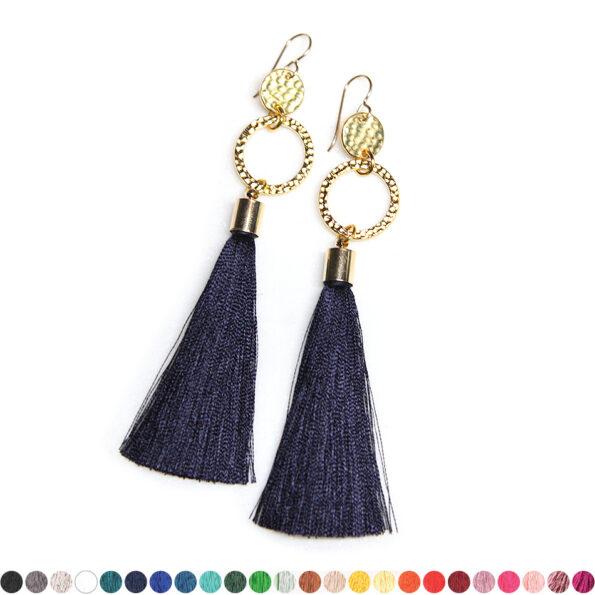 double twice hammered tassel earrings australia next romance jewellery gold navy