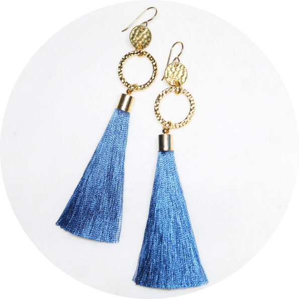 double twice hammered tassel gold blue earrings australia next romance jewellery