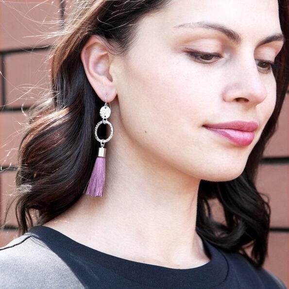 twice hammered dusty rose 2 coin tassel earrings ETSY next romance jewellery australia