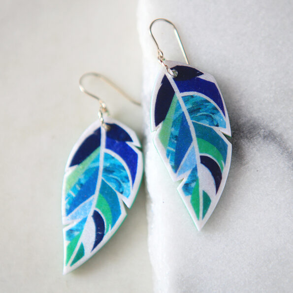 green blues feather earrings NEW next romance jewellery australian made canberra vicki