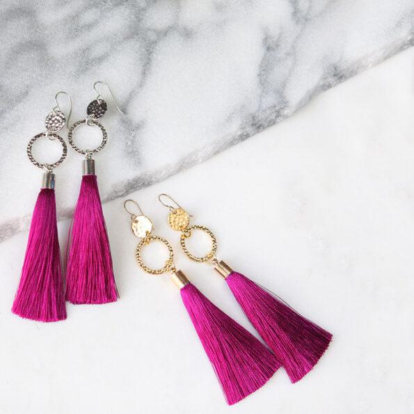 raspberry tassel unique earrings designs melbourne australian designer NEXT ROMANCE