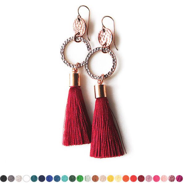 rose gold copper hammered coin tassel earrings etch choose colour