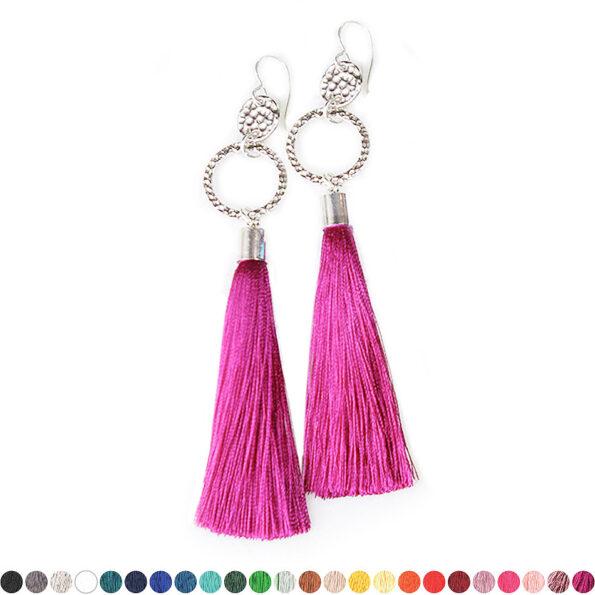 silver Double Hammered tassel earrings NEXT ROMANCE jewellery designs australia