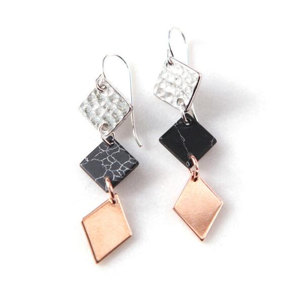 minimal modern next romance earrings black marble 3 tone drop dangles.JPG