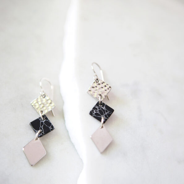 3 TIER marble square geometric earrings - silver geo project new by next romance jewellery made in australia