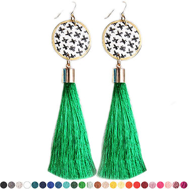 earring hero for cross green tassel art earrings NEXT ROMANCE jewellery unique art australia