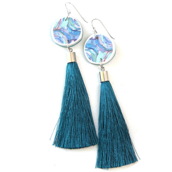 paint me teal tassel art earrings coin NEXT ROMANCE unique jewellery melbourne