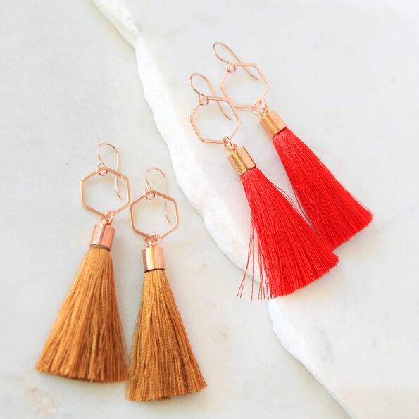 rose gold tassels short earrings melbourne australian made next romance jewellery
