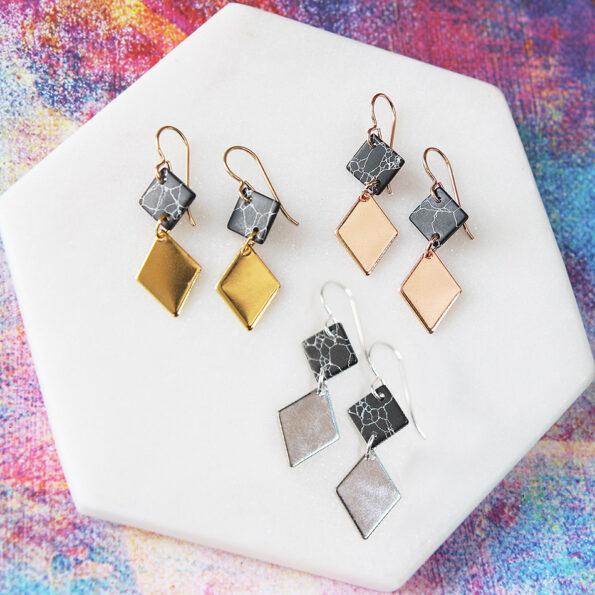 2 tier black marble earrings NEXT ROMANCE jewellery australia