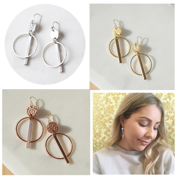 geo gold silver all coin and bar hammered earrings funky fun made in australia jewellery New next romance
