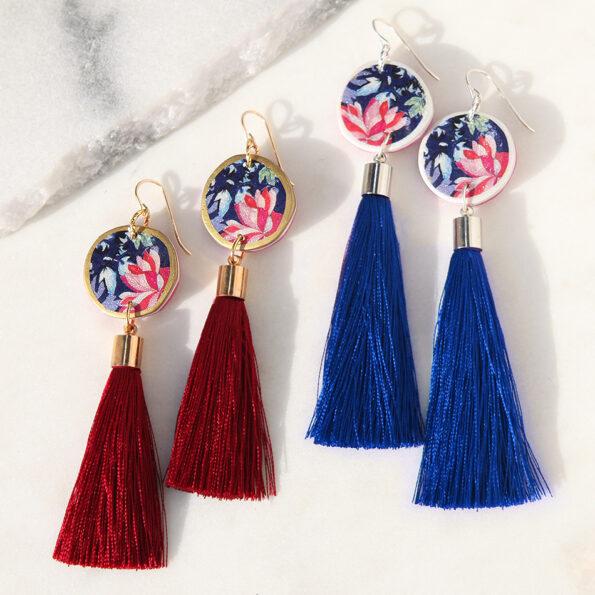 unique tassel earrings crysanthemum DEVOI x NEXT ROMANCE collab tassel earrings