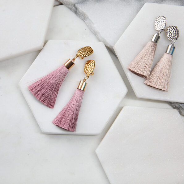 pink latte stud clipon tassel earrings