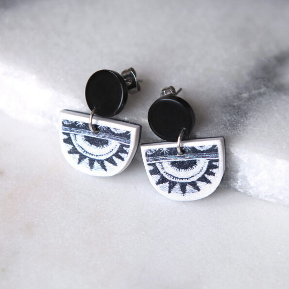half moon circle sun silver black stud earrings Next Romance Jewellery black